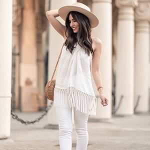 ZARA FRINGED LINEN HALTER TOP